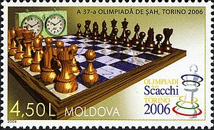 37th Chess Olympiad - A 2006 stamp of Moldova featuring the logo of the 37th Chess Olympiad