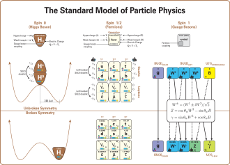 Mathematical formulation of the Standard Model - Standard Model of Particle Physics.  The diagram shows the elementary particles of the Standard Model (the Higgs boson, the three generations of quarks and leptons, and the gauge bosons), including their names, masses, spins, charges, chiralities, and interactions with the strong, weak and electromagnetic forces.  It also depicts the crucial role of the Higgs boson in electroweak symmetry breaking, and shows how the properties of the various particles differ in the (high-energy) symmetric phase (top) and the (low-energy) broken-symmetry phase (bottom).