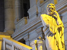 Statue of Lycurgus of Sparta, at the Law Courts of Brussels, December 30, 2013.jpg