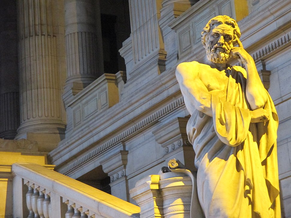 Statue of Lycurgus of Sparta, at the Law Courts of Brussels, December 30, 2013