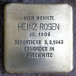 Photo of Heinz Rosen brass plaque