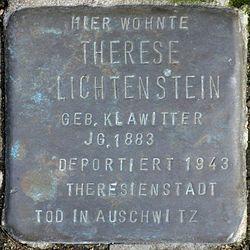 Photo of Therese Gertrud Lichtenstein brass plaque
