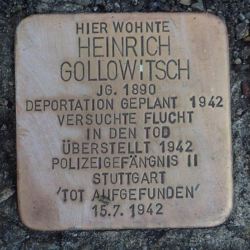 Stolperstein Leutkirch Karlstraße 12 Heinrich Gollowitsch