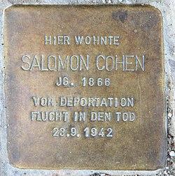 Photo of Salomon Cohen brass plaque