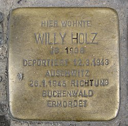 Photo of Willy Holz brass plaque