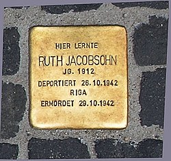 Photo of Ruth Rosa Jacobsohn brass plaque