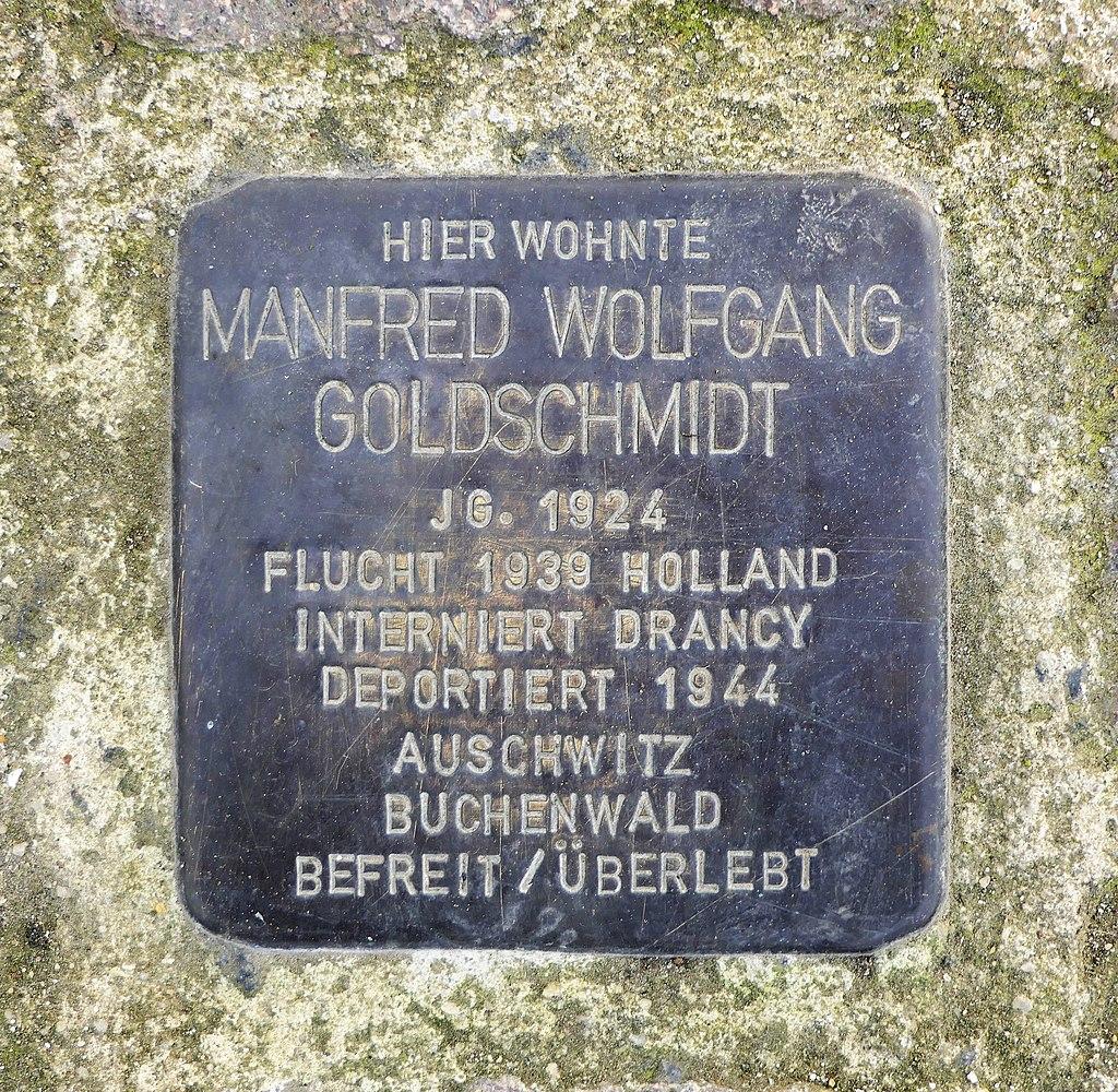 Stolperstein für Manfred Wolfgang Goldschmidt, Dr.-Rudolf-Friedrich-Strasse 10, Wurzen.JPG