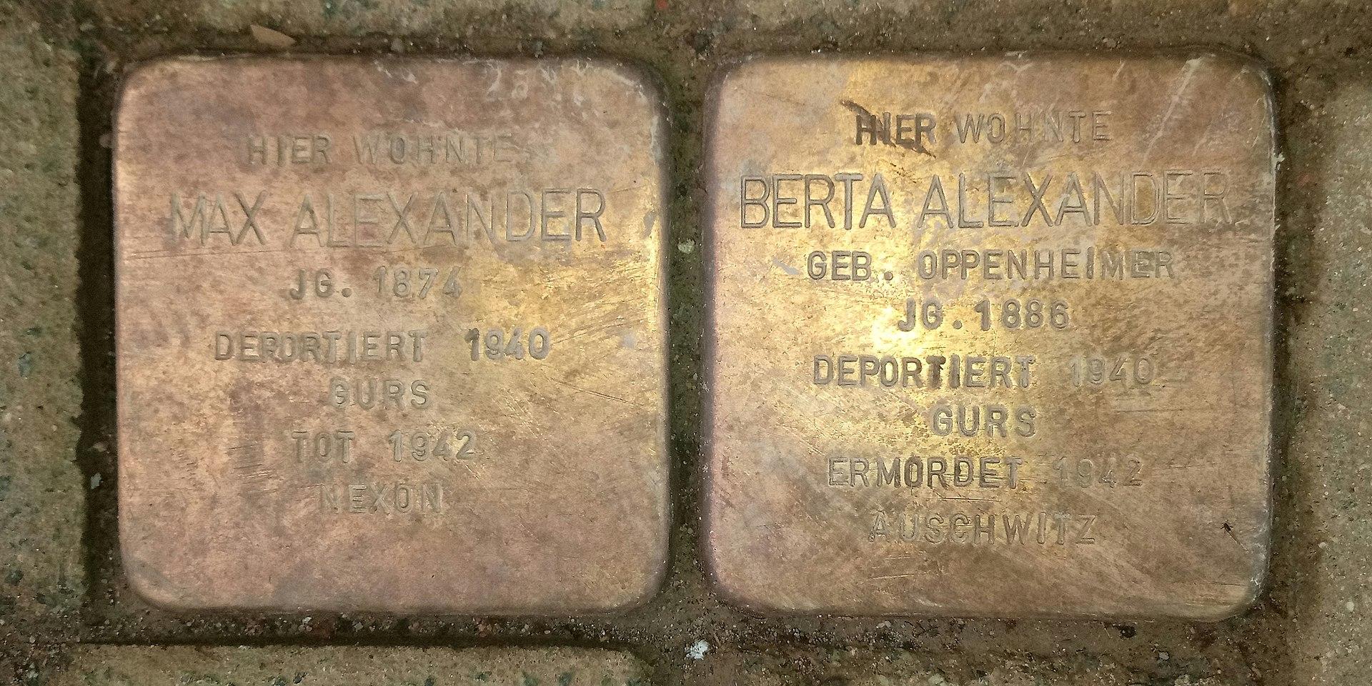 Stolpersteine füt Berta und Max Alexander