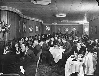 Sherman Billingsley - Billingsley (center table right) among the celebrities in the Stork Club's Cub Room (November 1944)