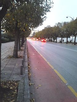Stratou Avenue near XANTh. Square at Thessaloniki, Greece.JPG