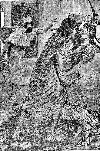 "Gobryas - ""The struggle between Gobryas and the false Smerdis"", 19th century print."