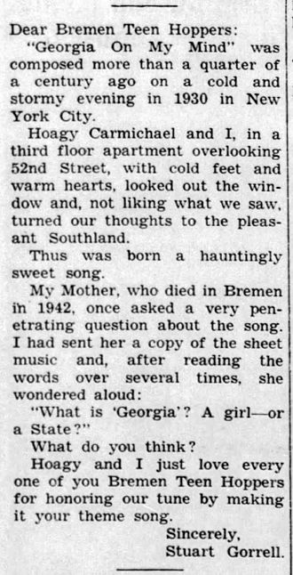 Georgia on My Mind - Stuart Gorrell's letter to his home town Teen Hop patrons, published in the Bremen Enquirer, 3 Aug 1961