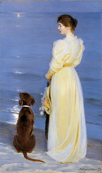 Summer Evening at Skagen. The Artist's Wife and Dog by the Shore - P.S. Krøyer: Summer Evening at Skagen. The Artist's Wife and Dog by the Shore, 1892