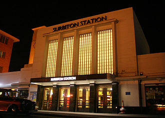 Surbiton railway station - The entrance at night