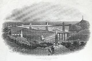 Suspension and tubular bridge across the Menai