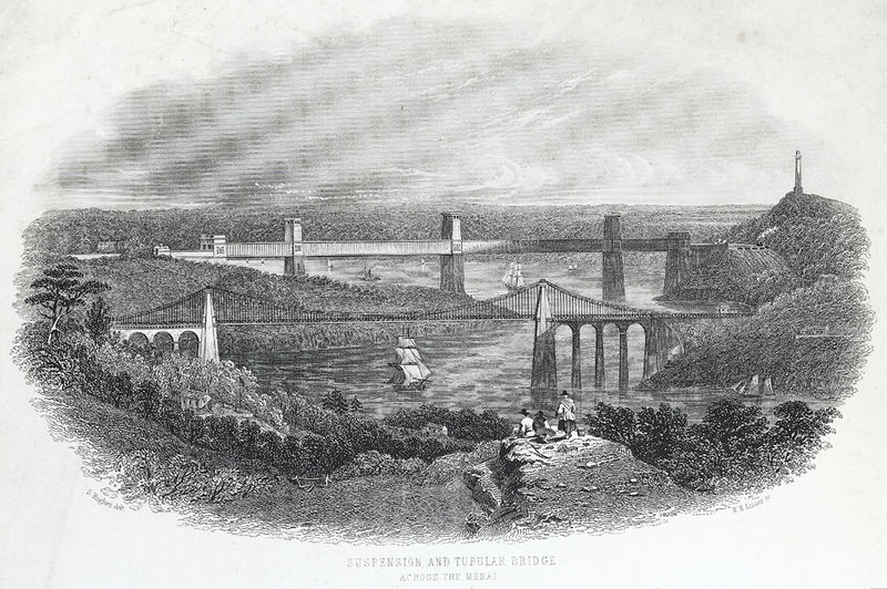 File:Suspension and tubular bridge across the Menai.jpeg