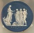 Sydney Cove Medallion (Hope encouraging Art and Labour under the influence of Peace), William Hackwood after Henry Webber, 1790-1795, jasper - Wedgwood Museum - Barlaston, Stoke-on-Trent, England - DSC09621.jpg