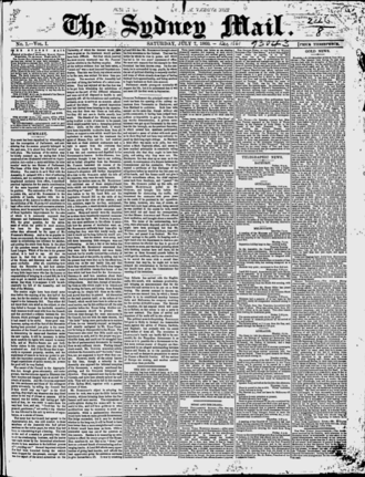 The Sydney Mail - Front page of the Sydney Mail on 7 July 1860