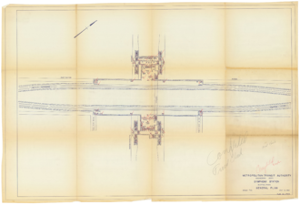 Symphony (MBTA station) - A 1960 plan of Symphony station showing the wide track separation, sub-passage, and the original stair configuration