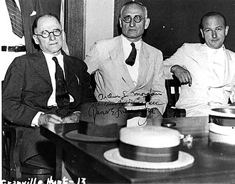 Tennessee Valley Authority - TVA's first board (L to R): Harcourt Morgan, Arthur E. Morgan, and David Lilienthal