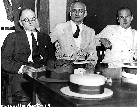 TVA's first board (L to R): Harcourt Morgan, Arthur E. Morgan, and David Lilienthal TVA-first-board.jpg