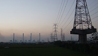Electricity sector in Taiwan - Electricity transmission line in Taichung.
