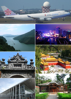 Clockwise from top: Taoyuan International Airport, Nankan River, Window on China Theme Park, Taoyuan Shinto shrines, THSR Taoyuan Station, Daxi Old Street, Shihmen Reservoir