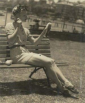 Tatiana Riabouchinska - Tatiana Riabouchinska darns a ballet slipper, circa 1940.