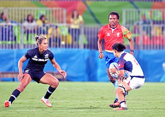Rugby union at the Summer Olympics - Huriana Manuel (left) of New Zealand and Kelly Griffin (right) of United States.