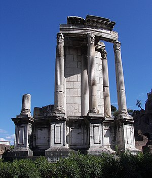 Temple of Vesta in the Forum Romanum in Rome.