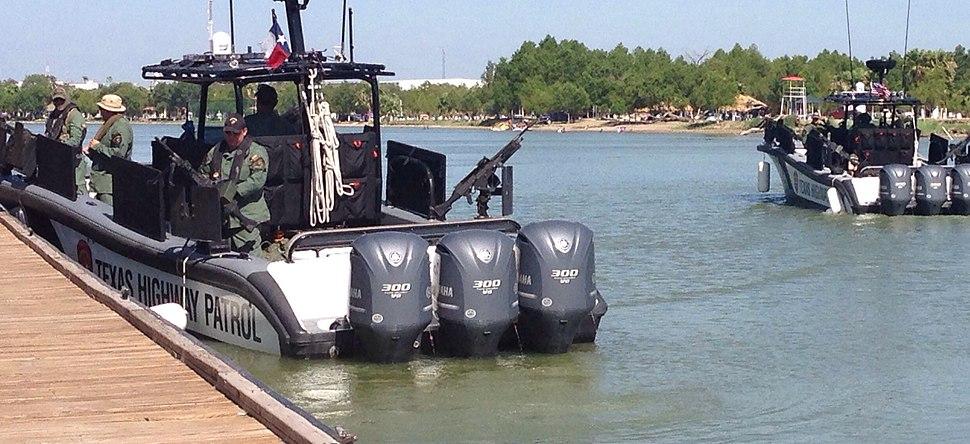 Texas Highway Patrol gunboats in Rio Grande River