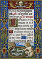 Text page from Office of the Dead, with a putto playing with ermines - Sforza Hours (1517-1520), f.261 - BL Add MS 34294.jpg