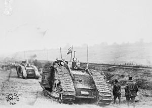 Tank Corps of the American Expeditionary Forces - 301st Tank Battalion going into action with Mark Vs at Saint-Souplet, France in October 1918 (Selle battle)