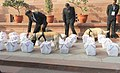 The Interim Railway Budget 2014-15documents brought in the Parliament House premises under security, in New Delhi on February 12, 2014.jpg