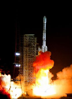 The launch of a Long March 3B carrier rocket at Xichang Satellite Launch Center.