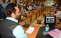 The Minister of State for Minority Affairs (Independent Charge) and Parliamentary Affairs, Shri Mukhtar Abbas Naqvi in a review meeting on Haj preparations, in Mumbai on August 19, 2016.jpg