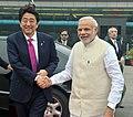 The Prime Minister, Shri Narendra Modi and the Prime Minister of Japan, Mr. Shinzo Abe departing for Varanasi from Delhi on December 12, 2015.jpg