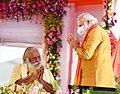The Prime Minister, Shri Narendra Modi with Mahant Nrityagopal Das at the foundation stone laying ceremony of 'Shree Ram Janmabhoomi Mandir', in Ayodhya, Uttar Pradesh on August 05, 2020.jpg