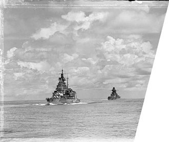HMS Valiant (1914) - Valiant (left) and Richelieu (right) from HMS Queen Elizabeth in the Bay of Bengal during the action against the Japanese at Sabang.