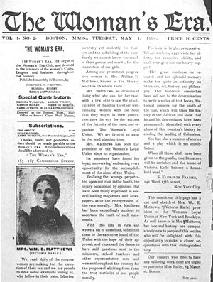 Victoria Earle Matthews - Matthews featured in The Woman's Era, a newspaper edited by Josephine St. Pierre Ruffin, May 1, 1894