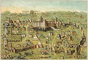The ancient city of Jerusalem with Solomon's T...
