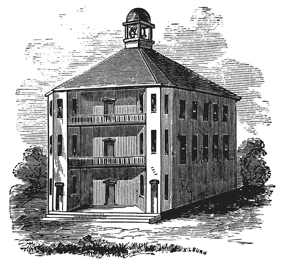 The first Vermont State House (1808 wood engraving)