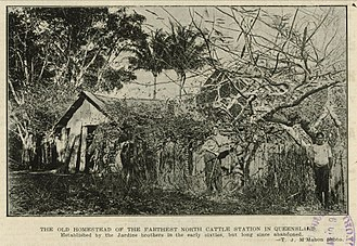 Francis Lascelles Jardine - The old homestead of the farthest north cattle station in Queensland. Established by the Jardine brothers in the early sixties, but long since abandoned, 1917