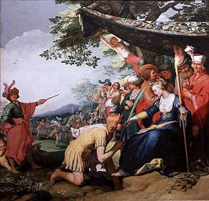 Aethiopica - Theagenes receiving the palm of honour from Chariclea by Abraham Bloemaert, 1626 (Mauritshuis, 16)
