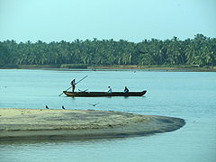 A ferry (Vallam) crossing the Thengapattnam Estuary