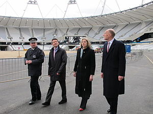 John Armitt - Sir John Armitt (right) during a visit to the Olympic Park, 2011.