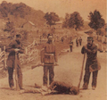 Three soldiers stand by a casualty, Battle of Ridgeway, 1866.png