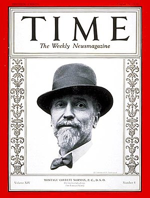 Montagu Norman, 1st Baron Norman - Norman on the cover of Time, 1929