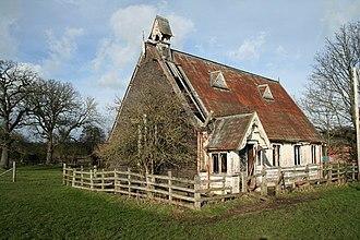 "Abenbury - A disused ""tin tabernacle"" in the community of Abenbury, Wrexham County Borough, near the village of Pentre Maelor."