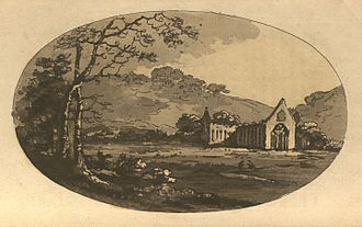 Tintern Abbey - An aquatint of the Abbey from  Gilpin's Observations on the River Wye